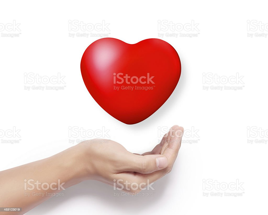 Heart in a hands isolated stock photo