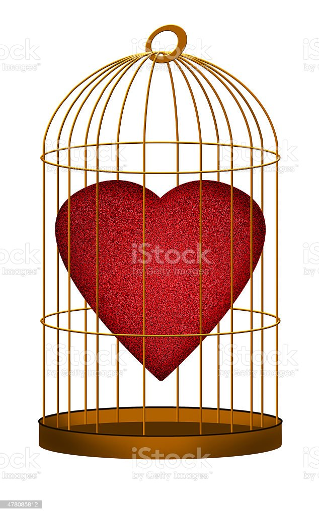 Heart in gilded cage - love, valentine concept vector art illustration