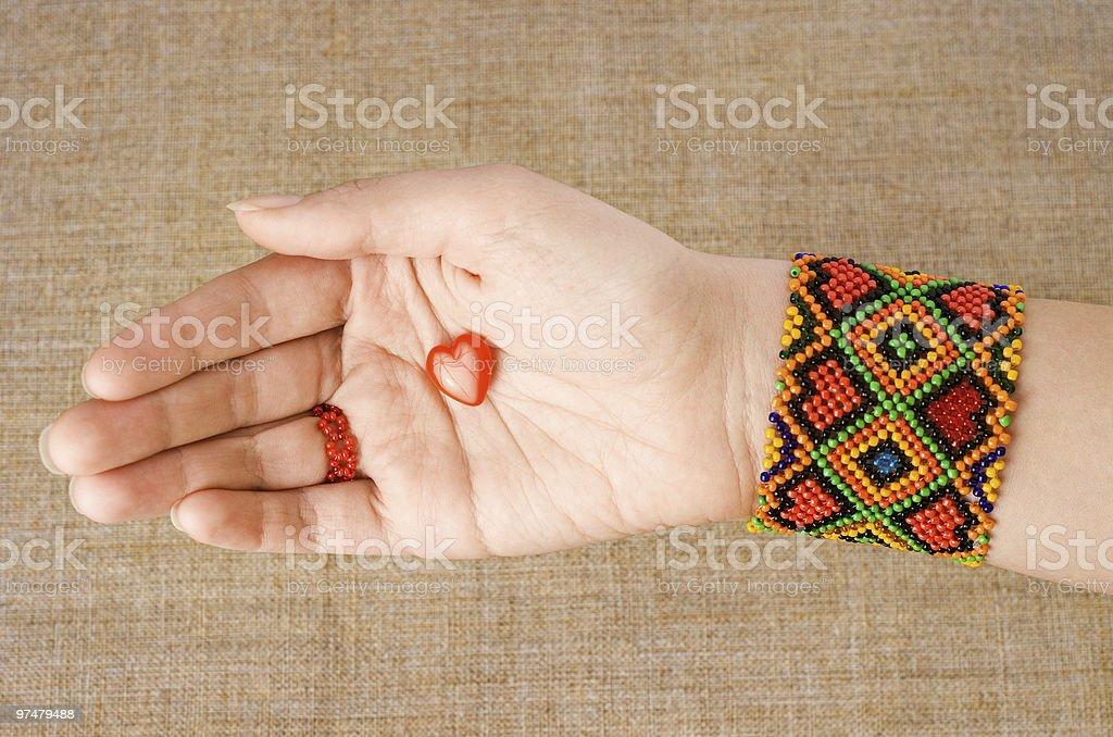 Heart in hand. Palmistry . stock photo