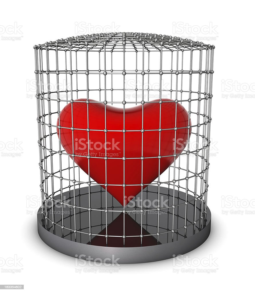 Heart in Metal Cage royalty-free stock photo