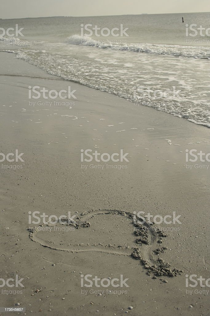 Heart in Sand stock photo