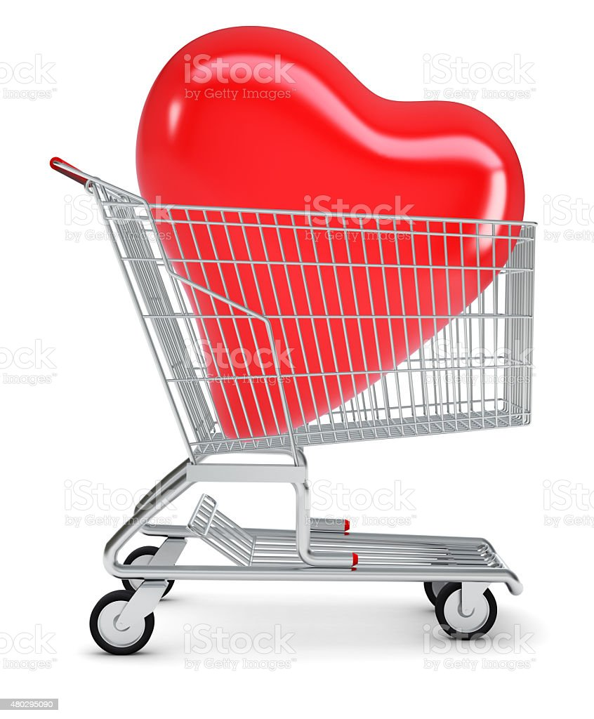 Heart in shopping cart stock photo