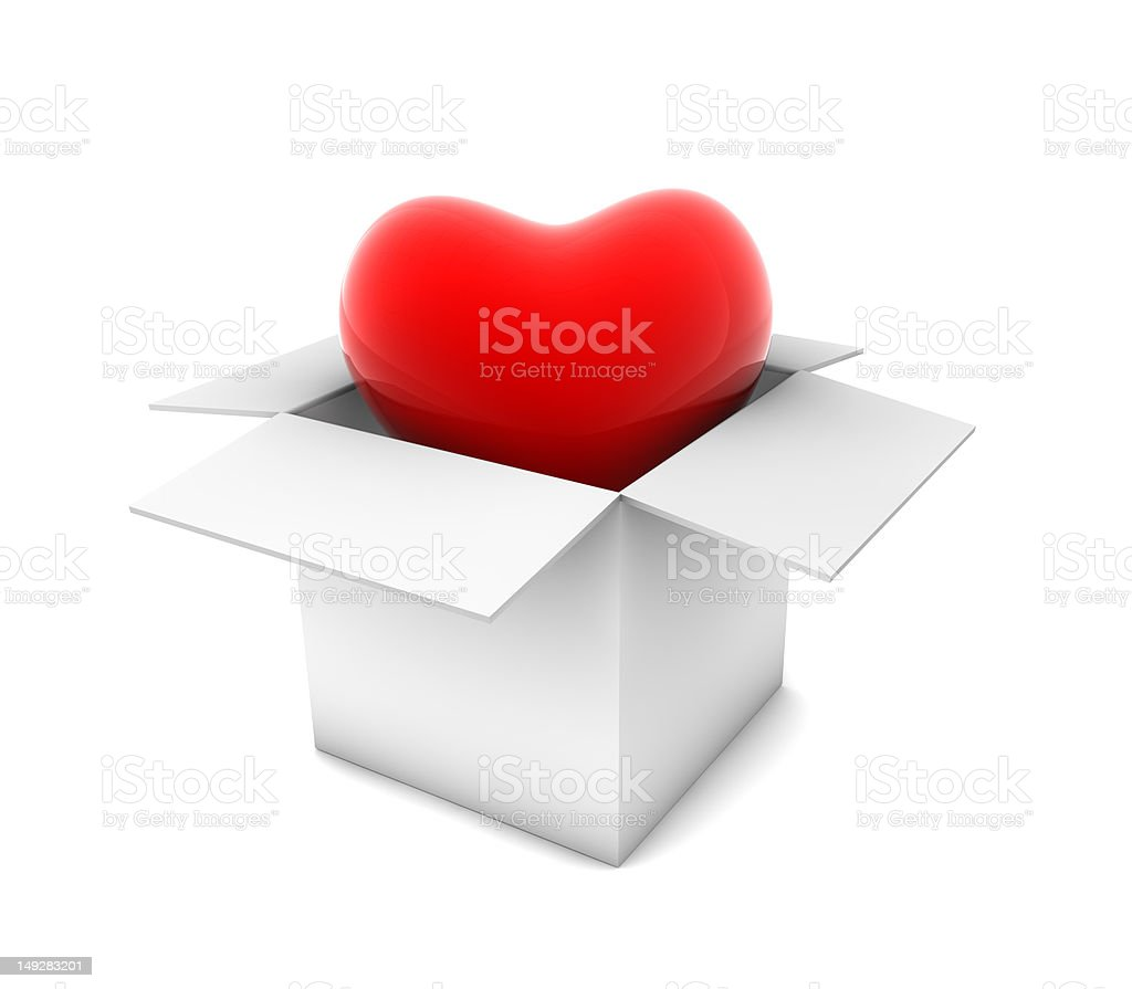 Heart in White Box royalty-free stock photo