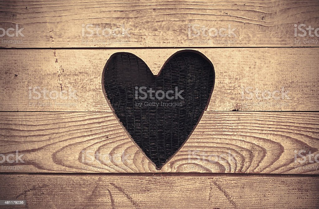 Heart in Wooden Wall stock photo