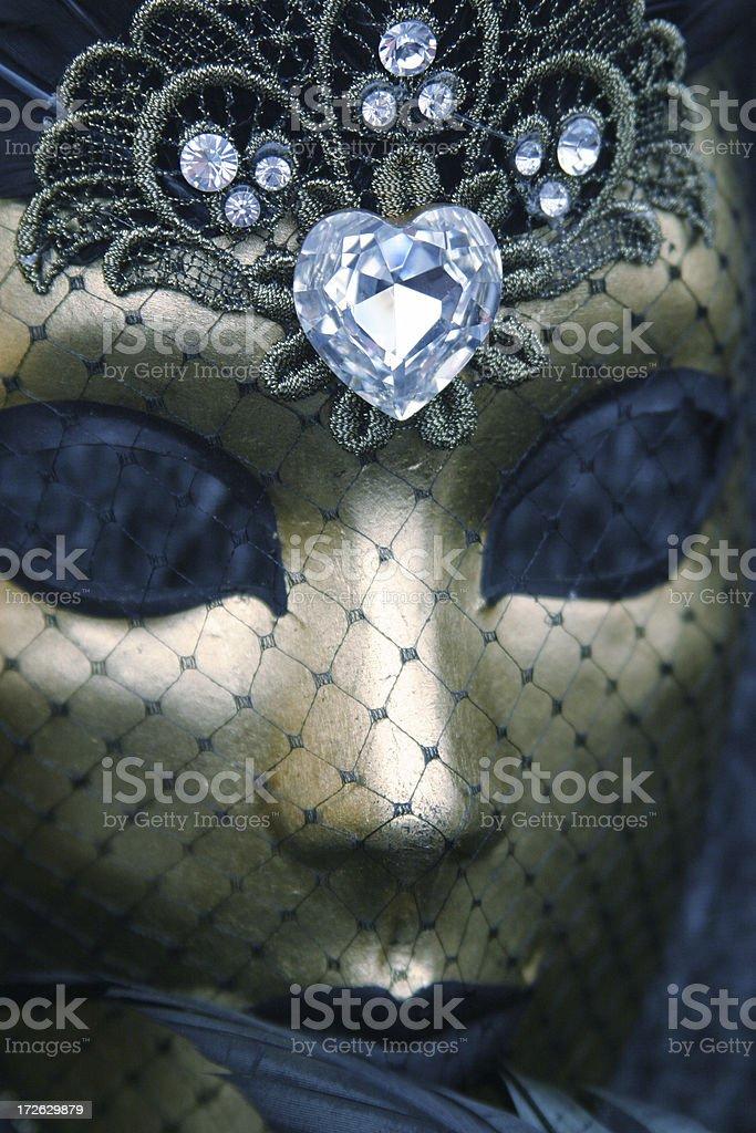 Heart Jewellery golden mask stock photo