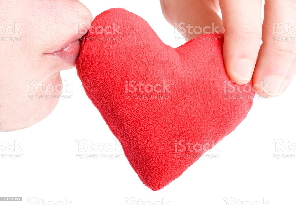 Heart kiss stock photo