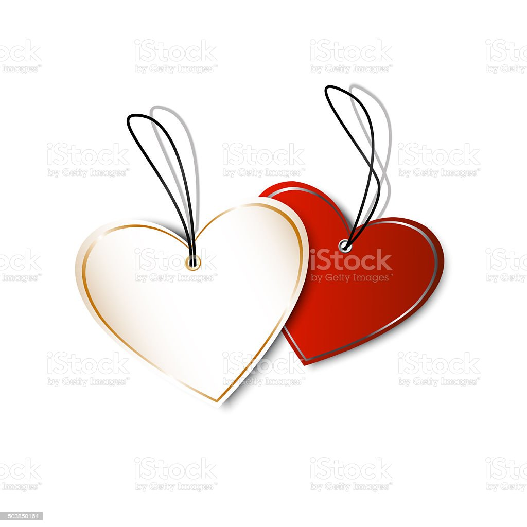 heart labels tags shape of hearts valentines day stock photo