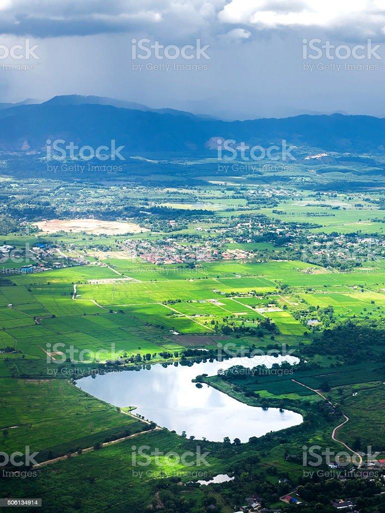 Heart lake from bird eye view stock photo