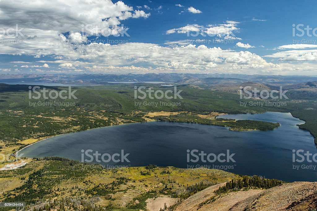 Heart Lake from the top of Mt Sheridan. stock photo