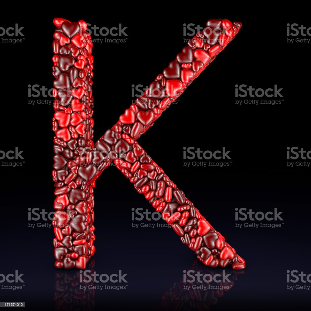 Heart Letter K stock photo
