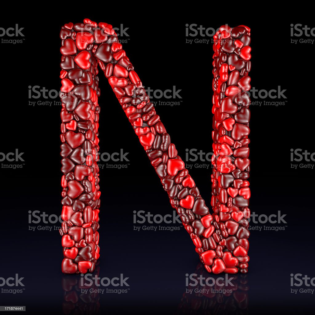 Heart Letter N royalty-free stock photo