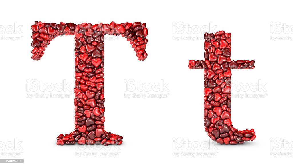 Heart Letter T royalty-free stock photo