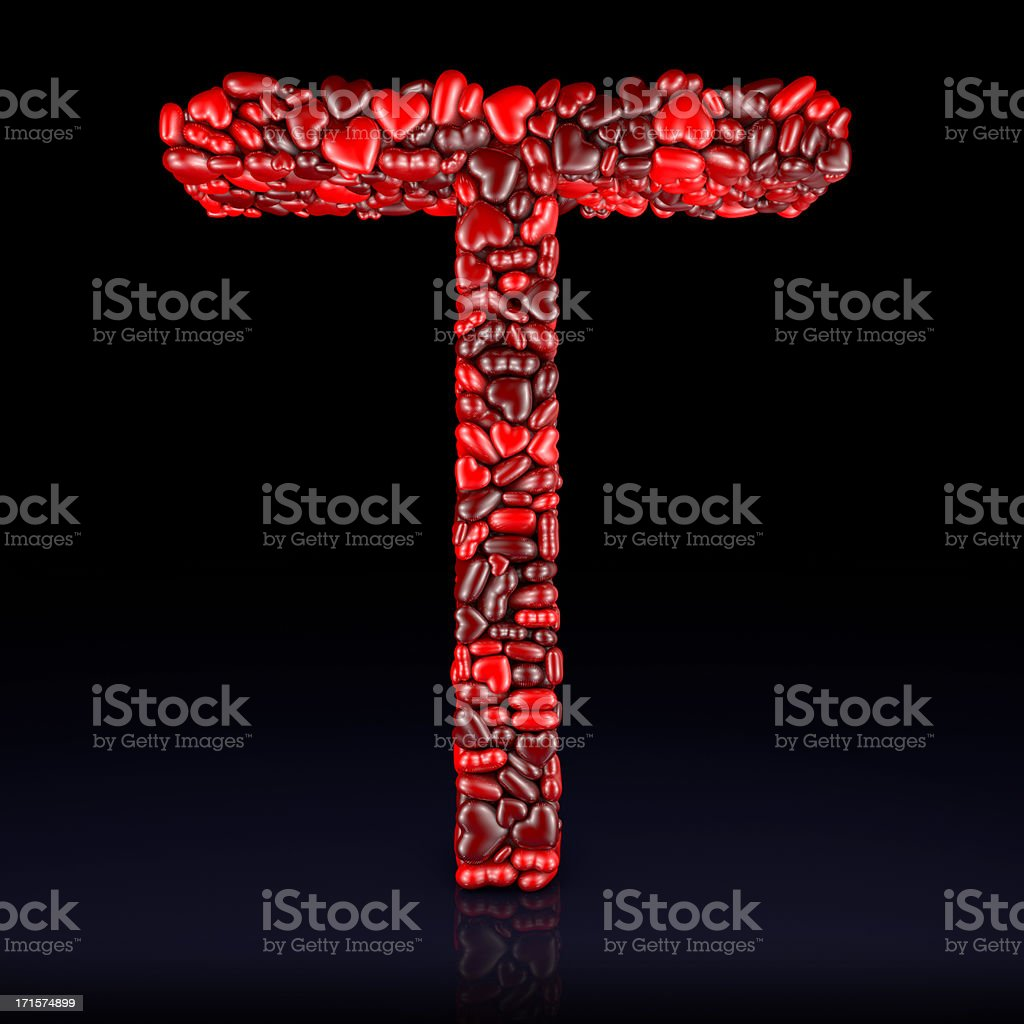 Heart Letter T stock photo