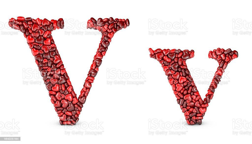 Heart Letter V royalty-free stock photo
