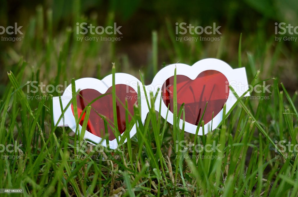 Heart like  red  3d glases stock photo