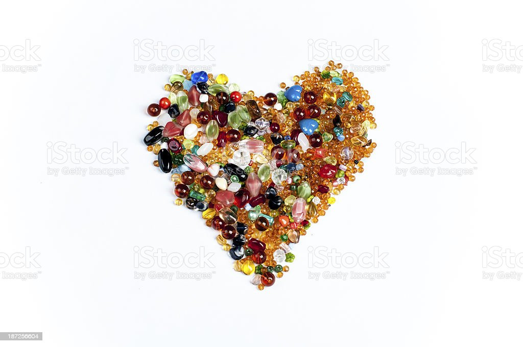 heart made colorful gems stock photo
