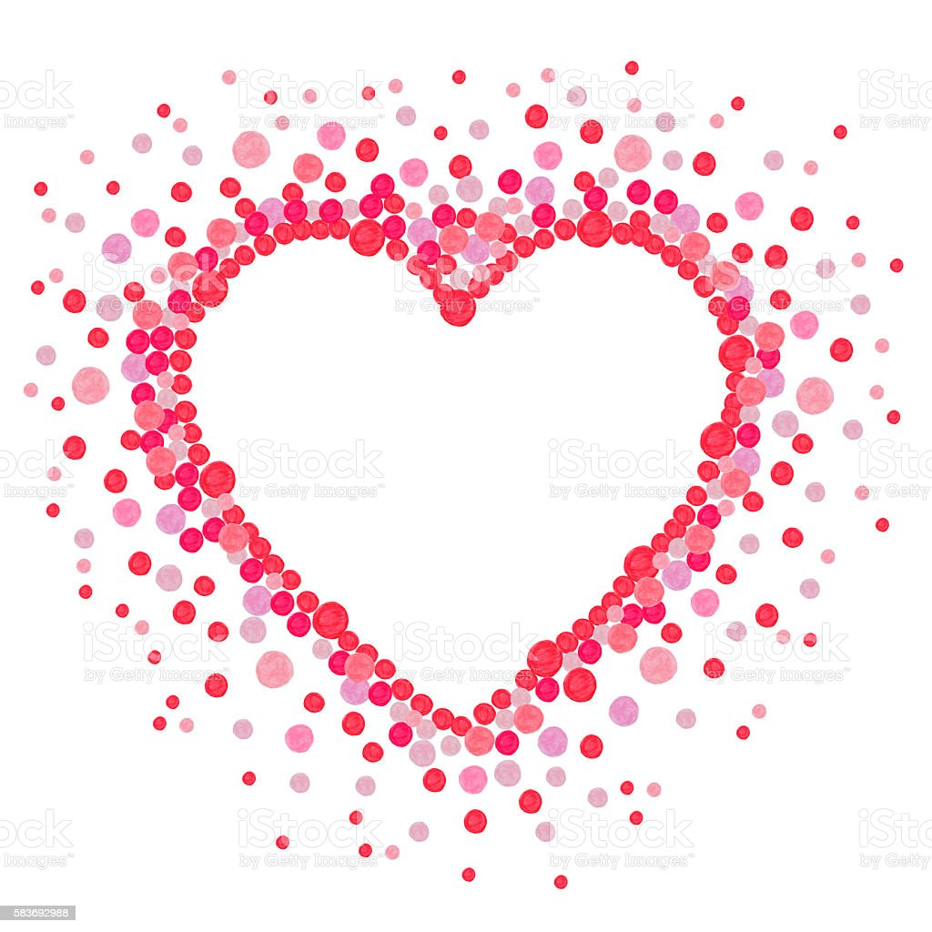 Heart made from many dots stock photo