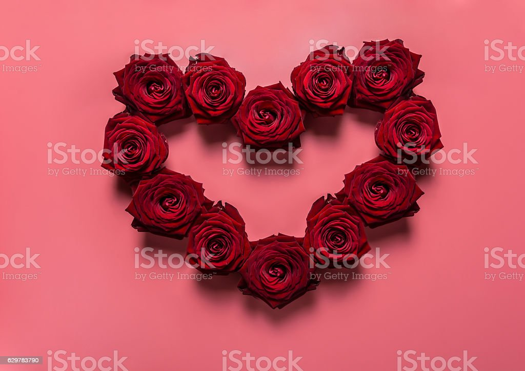 Heart Made From Red Roses, Valentine Day, Love, Relationship. stock photo