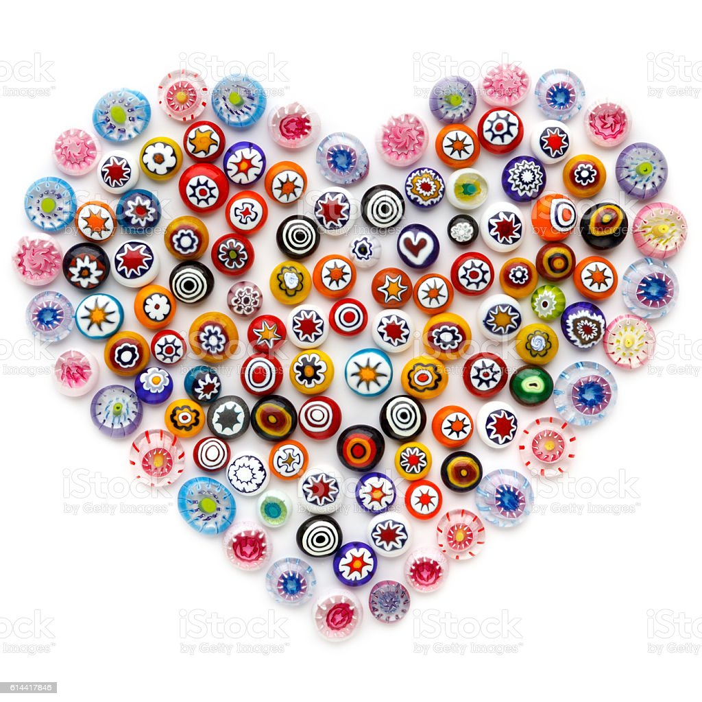 Heart made of colorful glass beads. colored Venetian glass, Murano stock photo