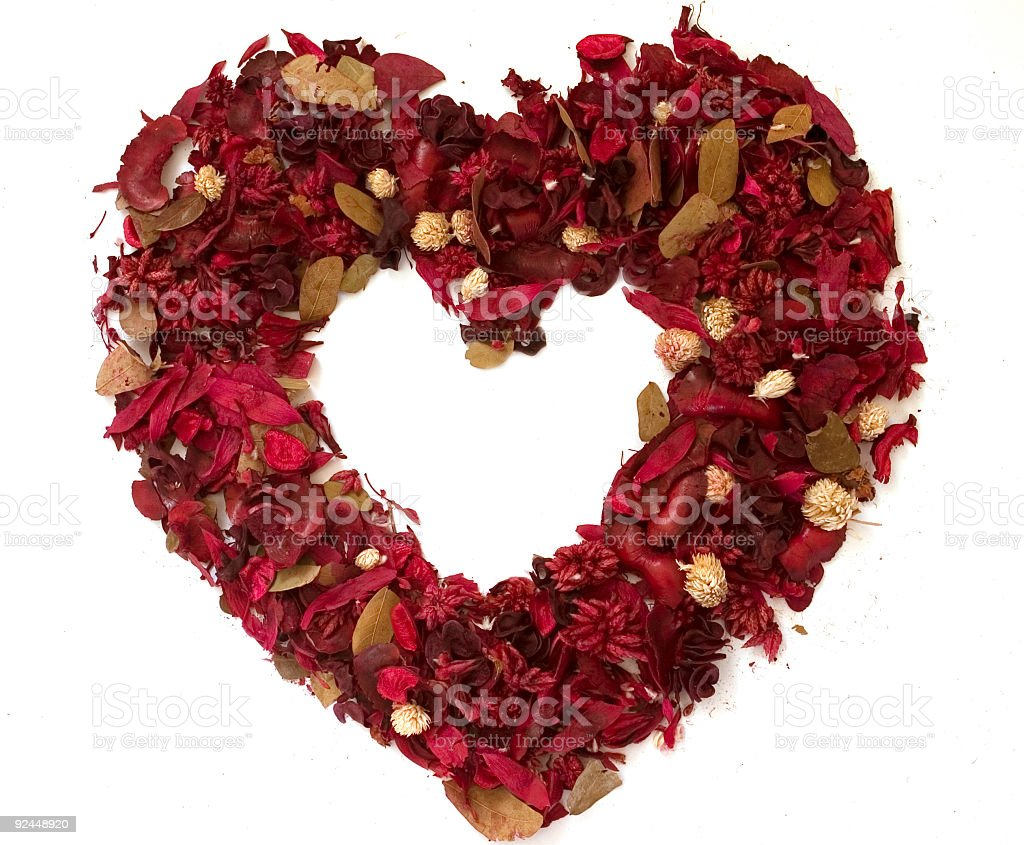 Heart made of dried flowers royalty-free stock photo