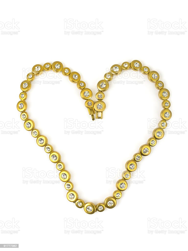 Heart made of gold chain royalty-free stock photo
