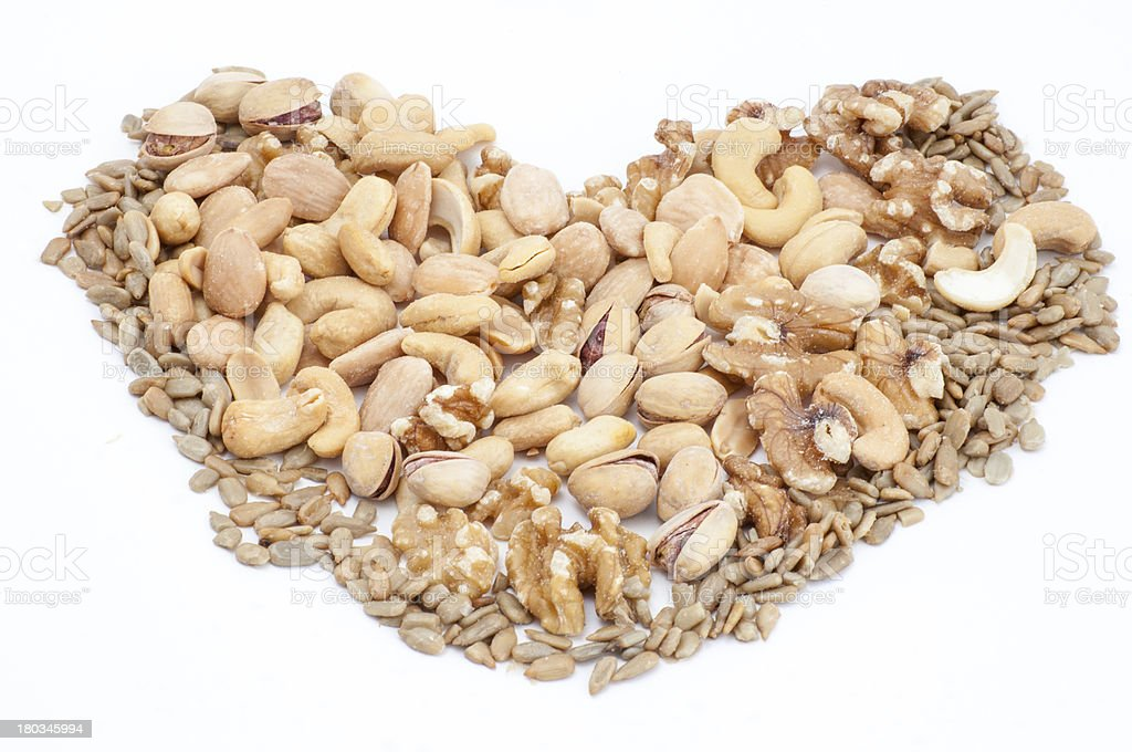 Heart  made of  nuts royalty-free stock photo