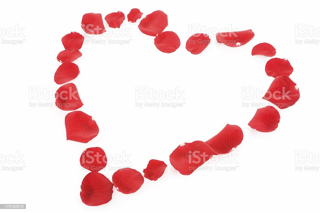 heart made of red rose petals royalty-free stock photo