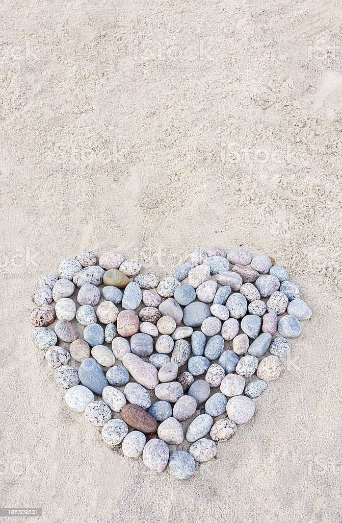 Heart made of round stones royalty-free stock photo