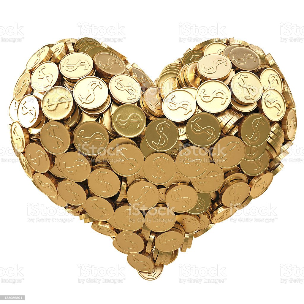 A heart made out of gold coins stock photo