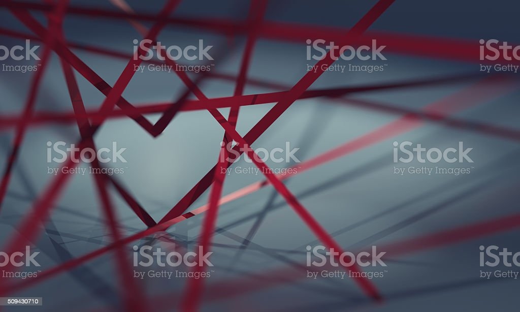 Heart made up of red ribbons stock photo