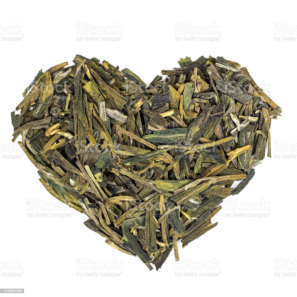 Heart made with Longjing Green Tea from China. stock photo