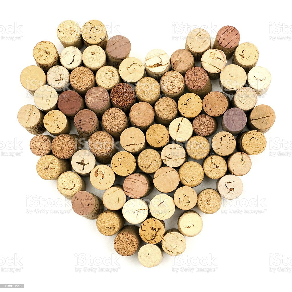 Heart made with various wine corks stock photo