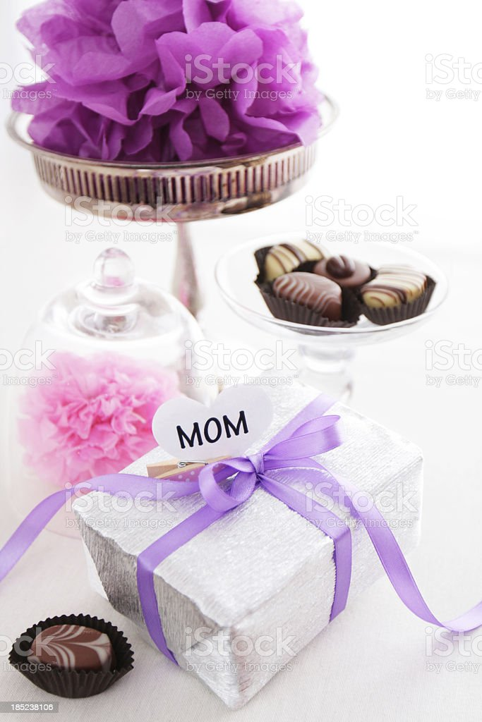 Heart Mom sign, gift box, chocolates and pom pons royalty-free stock photo