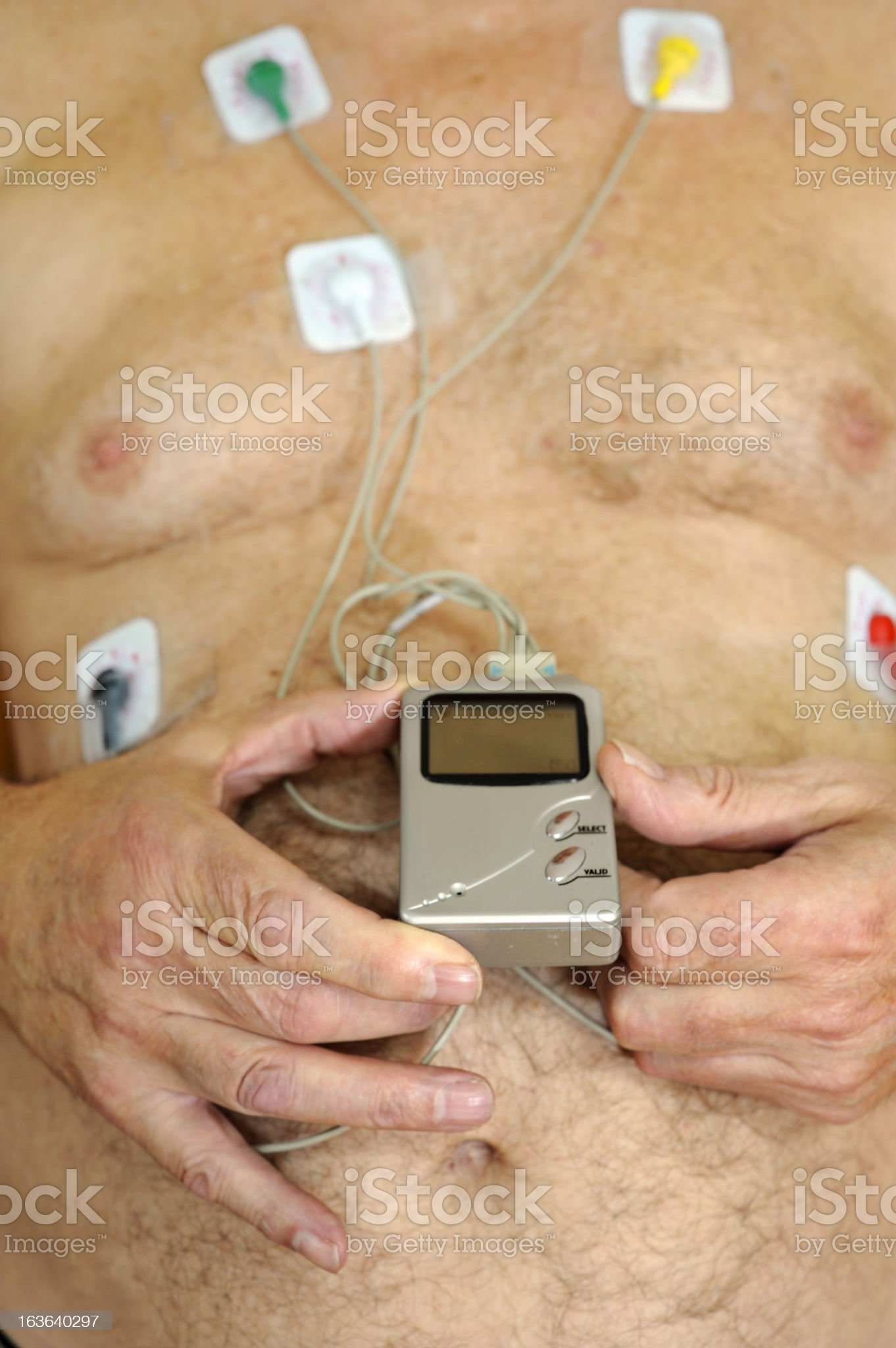 Heart monitor on senior chest royalty-free stock photo