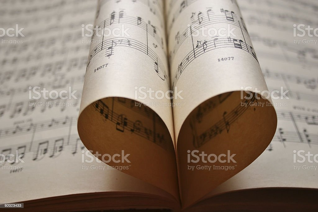 heart music notes stock photo