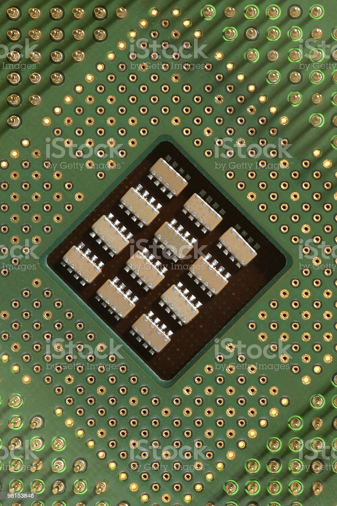 Heart of a Computer the CPU on Motherboard stock photo