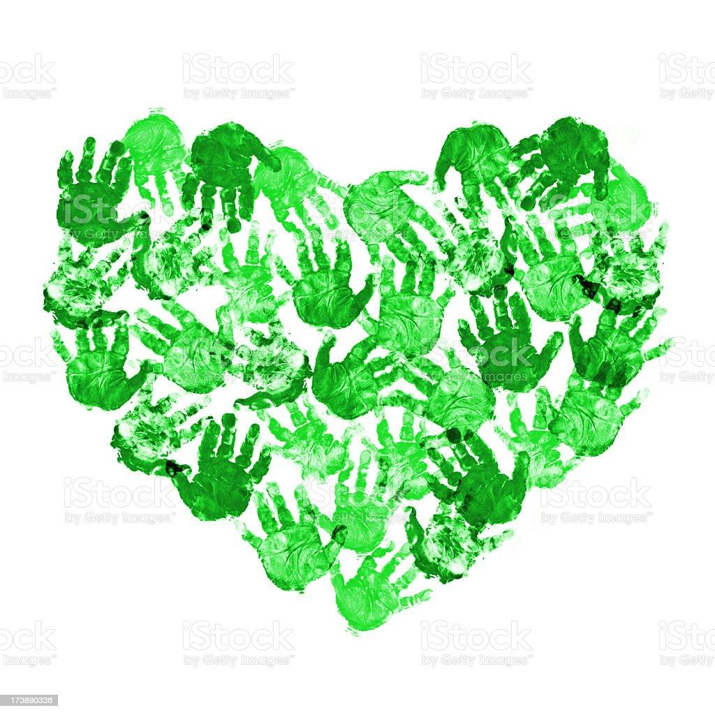 Heart of baby green handprint royalty-free stock photo