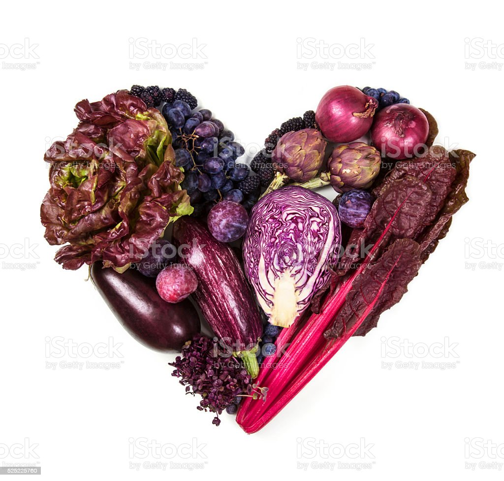 Heart of blue and purple  fruits and vegetables stock photo