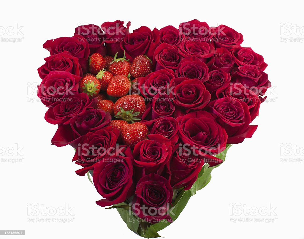 Heart of flowers with strawberries royalty-free stock photo