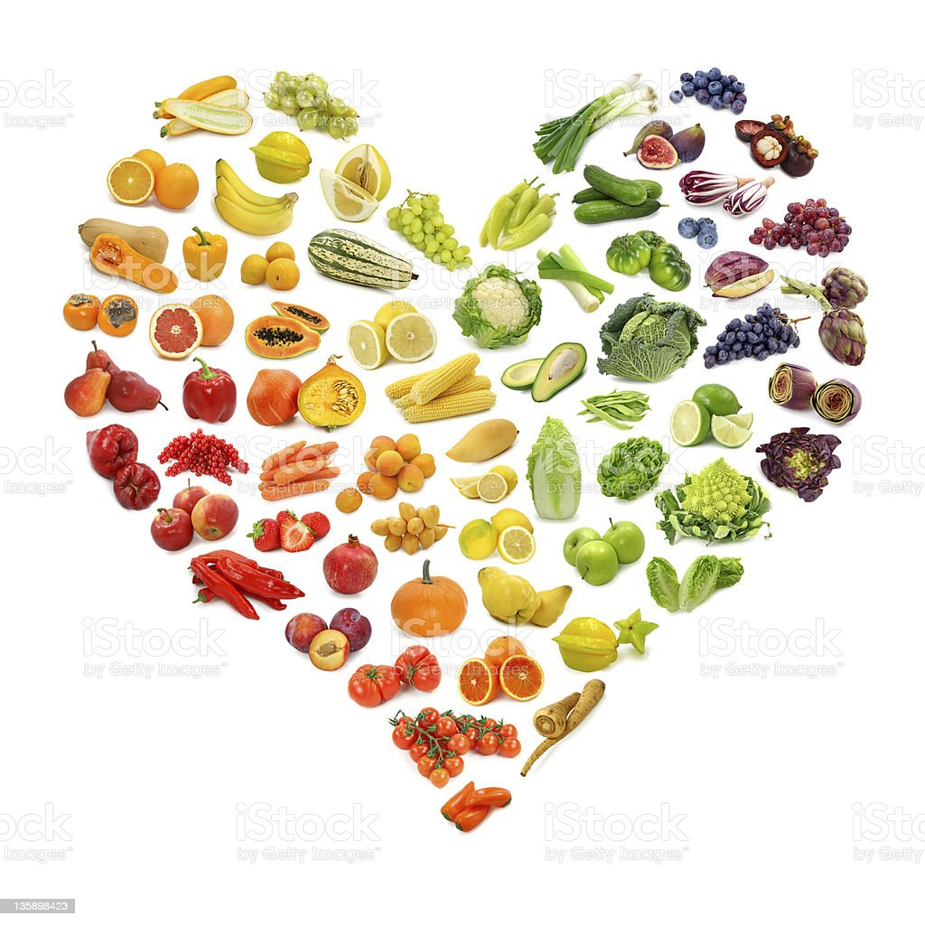 Heart of fruits and vegetables stock photo