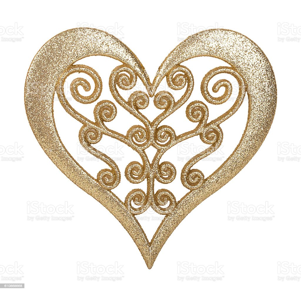 heart of gold decoration stock photo