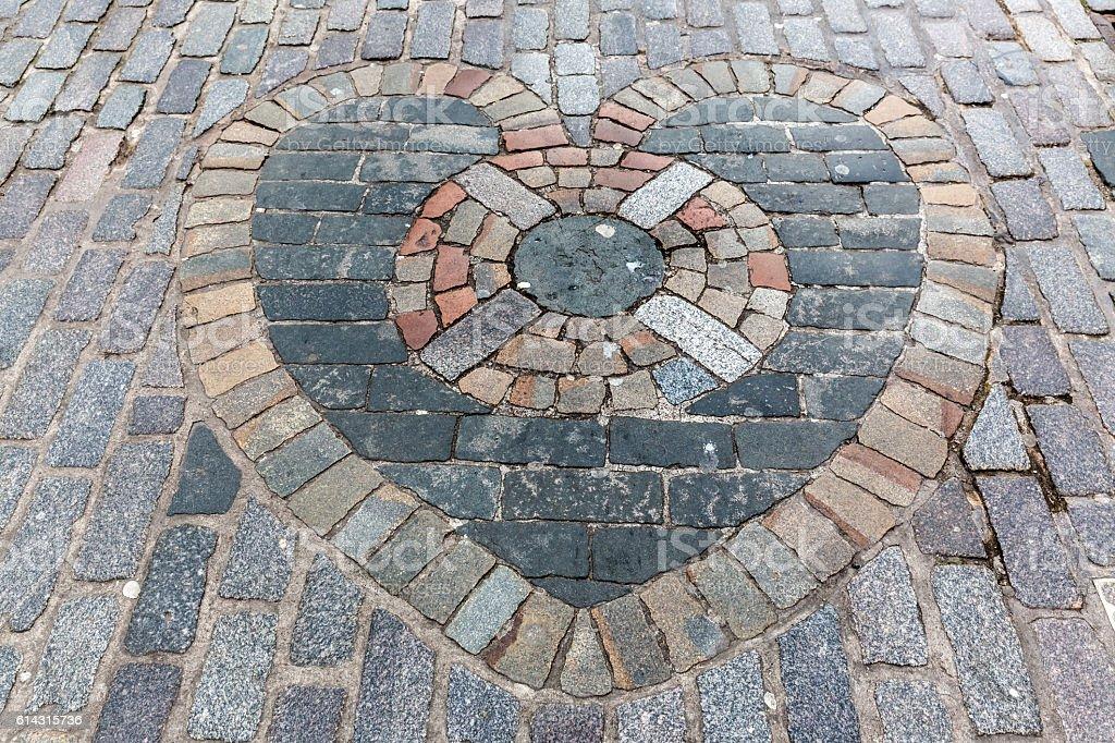 Heart of Midlothian mosaic on Royal Mile, Edinburgh, Scotland stock photo