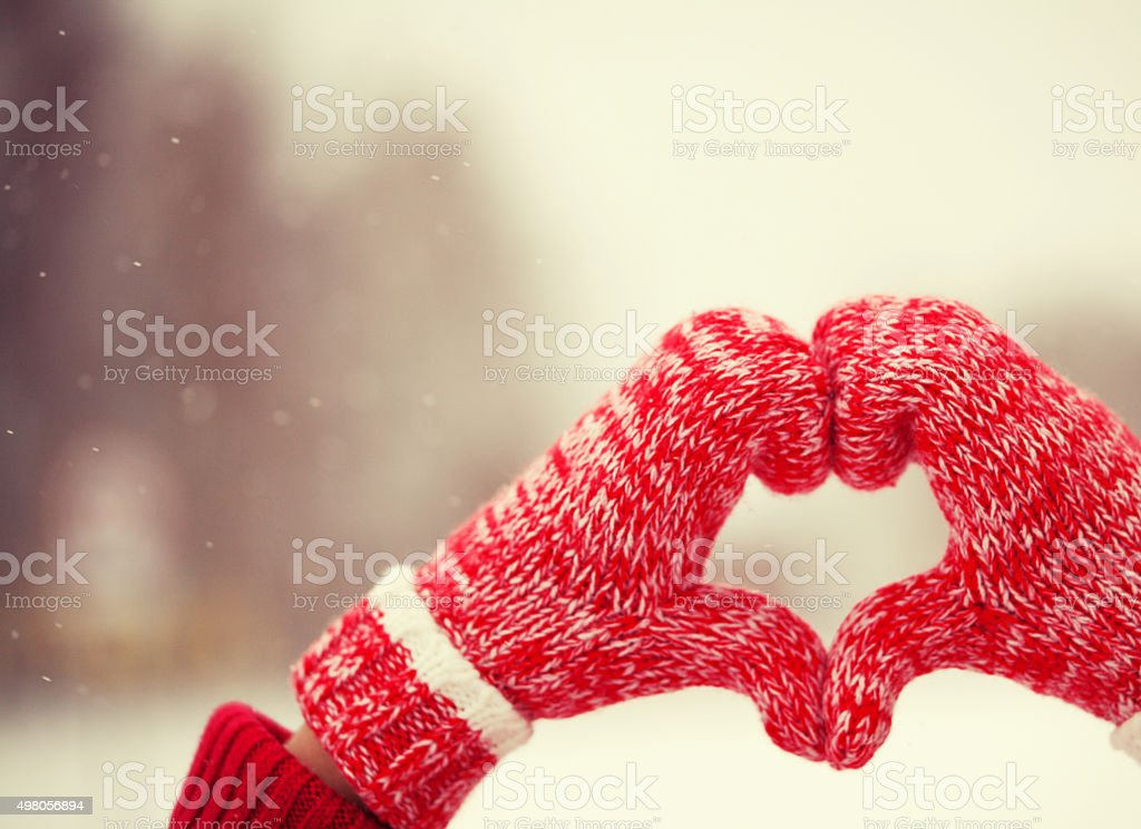 Heart of mittens stock photo