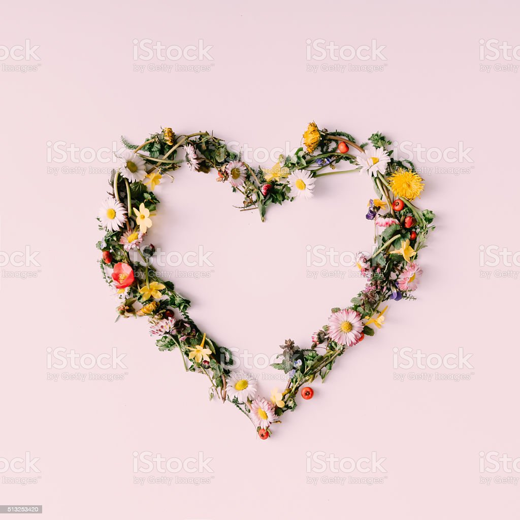 Heart of nature. Love concept. Flat lay. stock photo