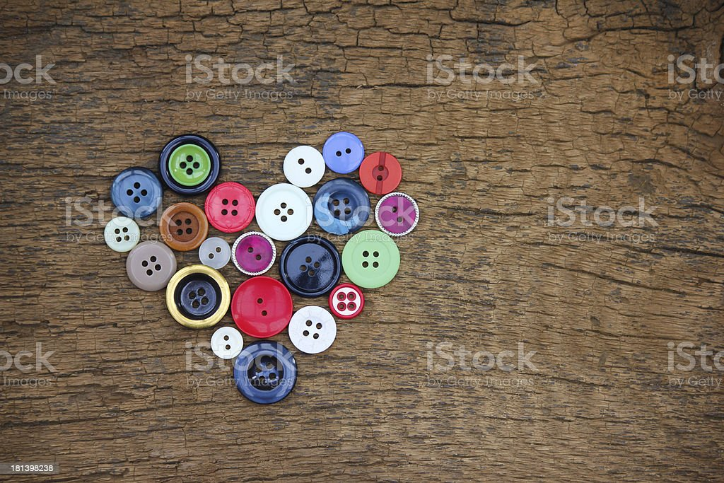 Heart of old buttons royalty-free stock photo
