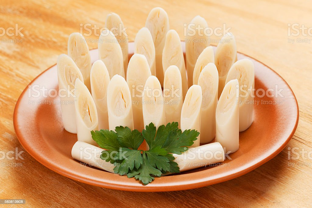 Heart of palm (palmito) on plate stock photo