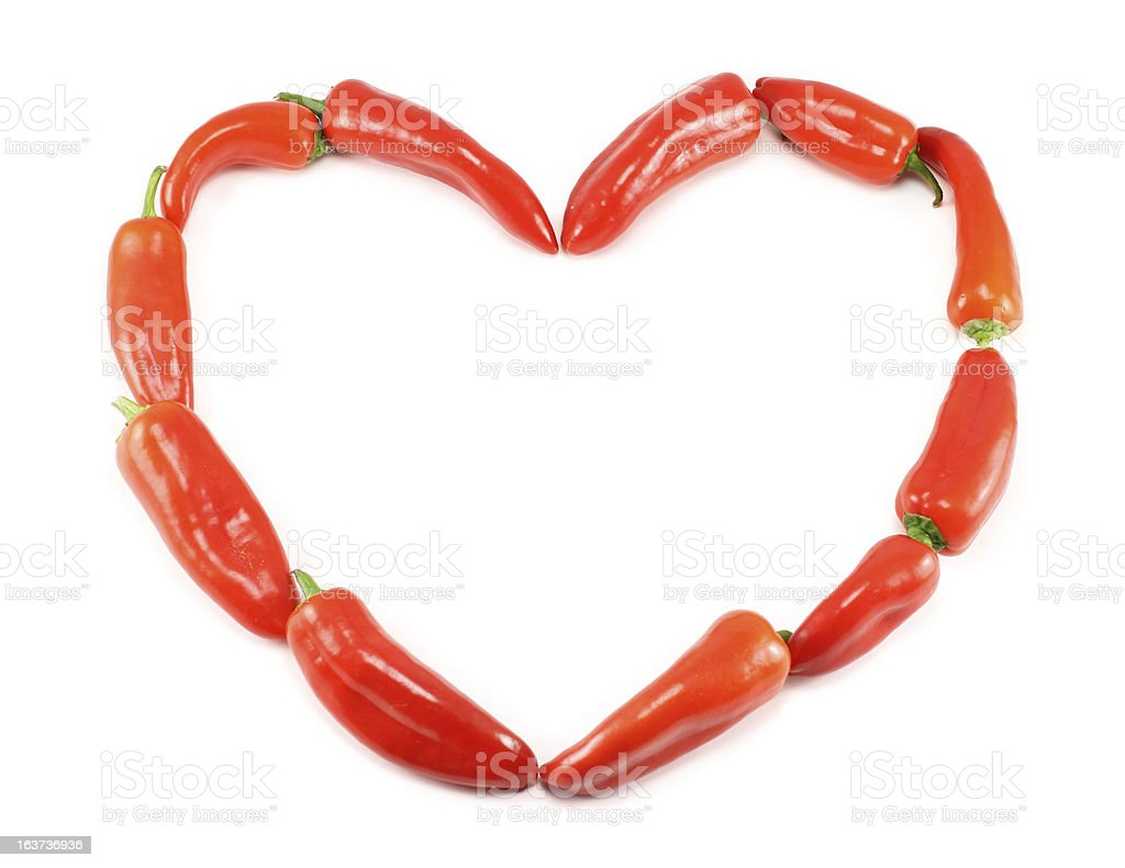 Heart Of Pepper Isolated On White royalty-free stock photo