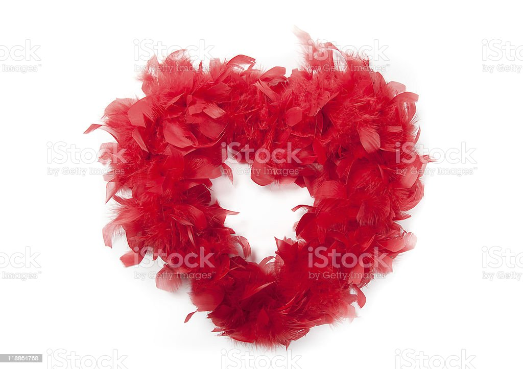 Heart of red feathers stock photo
