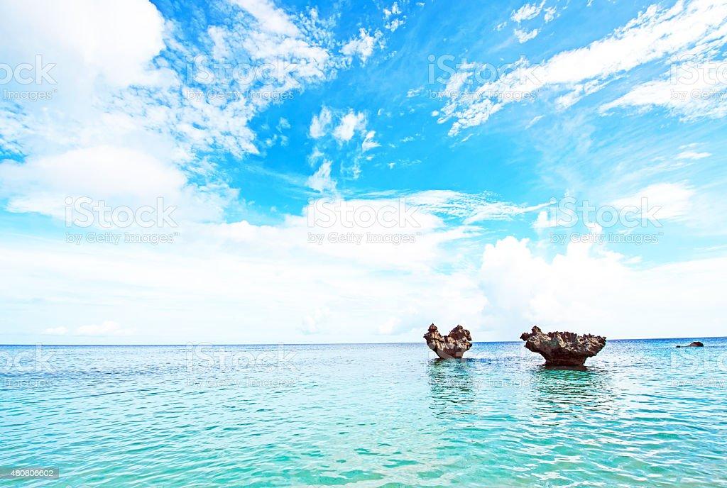 Heart of rock and blue sky, Okinawa, Japan stock photo