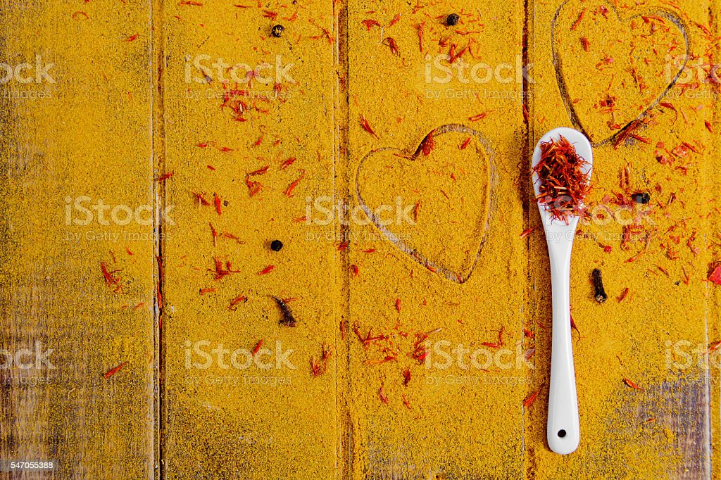 Heart of spices and seasonings stock photo